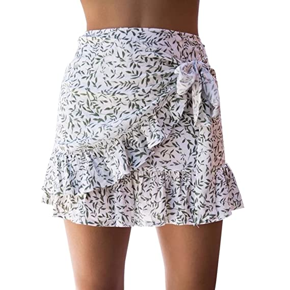 Là Vestmon Femmes Taille Haute Floral Print Flounce Jupe d été Cravate Mini  Short A-Ligne Moulante Jupe  Amazon.fr  Vêtements et accessoires 0e9c40fd4bd