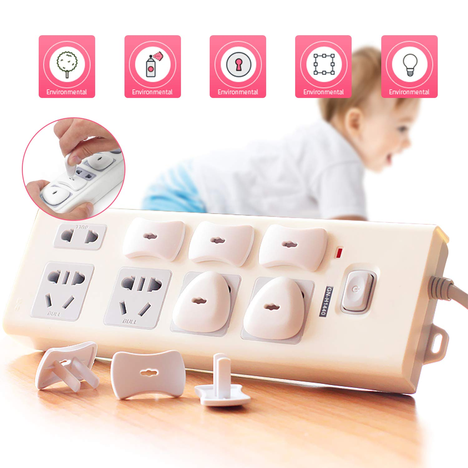 Baby Proofing, 44 PCS Magnetic Cabinet Locks Child Safety, 8 Cabinet Locks + 2 keys, 10 Corner Guards, 20 Outlet Plug Covers, with Strong 3M Adhesive Tape and Metal Screws by ARNIL (Image #4)