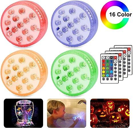 Luces Sumergibles, 4 Pack Luz LED Impermeable, Control Remoto Bajo El Agua Luz para Decoración Acuario, Estanque, Bodas, Decoloración Colorida, Luces Decorativas [Clase de eficiencia energética A]: Amazon.es: Iluminación