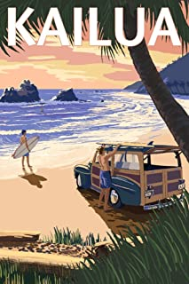 product image for Kailua, Hawaii, Woody on Beach 57002 (12x18 SIGNED Print Master Art Print, Wall Decor Poster)