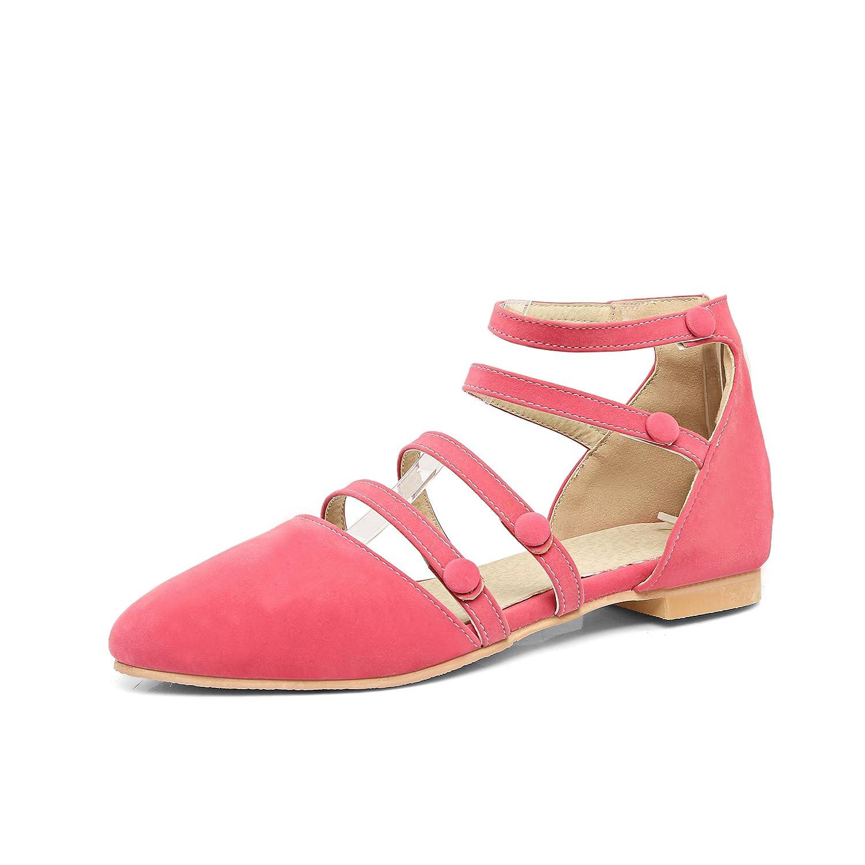 Unbekannt Damen Sommer Sandalen Mode Wies Taste Dekoration Wildleder Dicke Ferse Reißverschluss Hinten Niedrig - Verfolgte Rosa 46