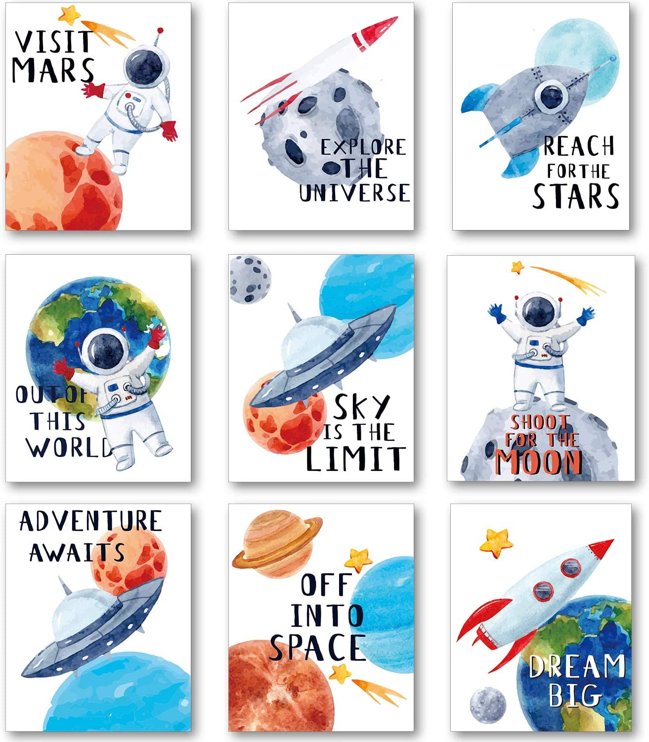9 Pieces Outer Space Wall Poster Art Prints Kids Nursery Bedroom Space Posters Decor, 8 x 10 Inch Cute Inspirational Astronaut Planet Poster for Boy and Girl Playroom Classroom Decoration
