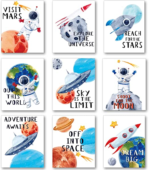 Set of 5 No Frame,8X10 Funny Aerospace Theme Canvas Wall Art Printing for Boys Bedroom Playroom Decoration BuKu Astronaut Art Print
