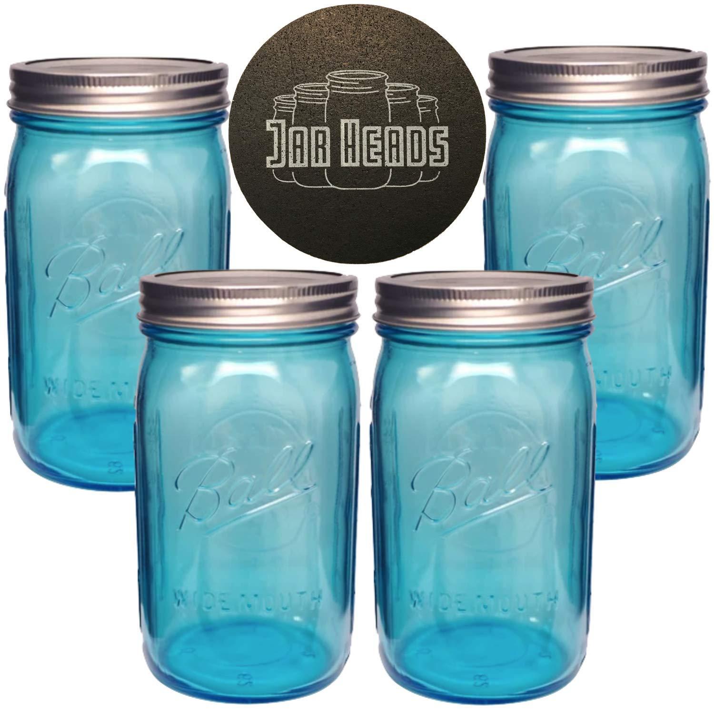Set of 4 Quart Size Mason Jars Ball Mason Jars Wide Mouth 32 oz Bundle with Non Slip Jar Opener Canning Glass Jars with Lids multiple