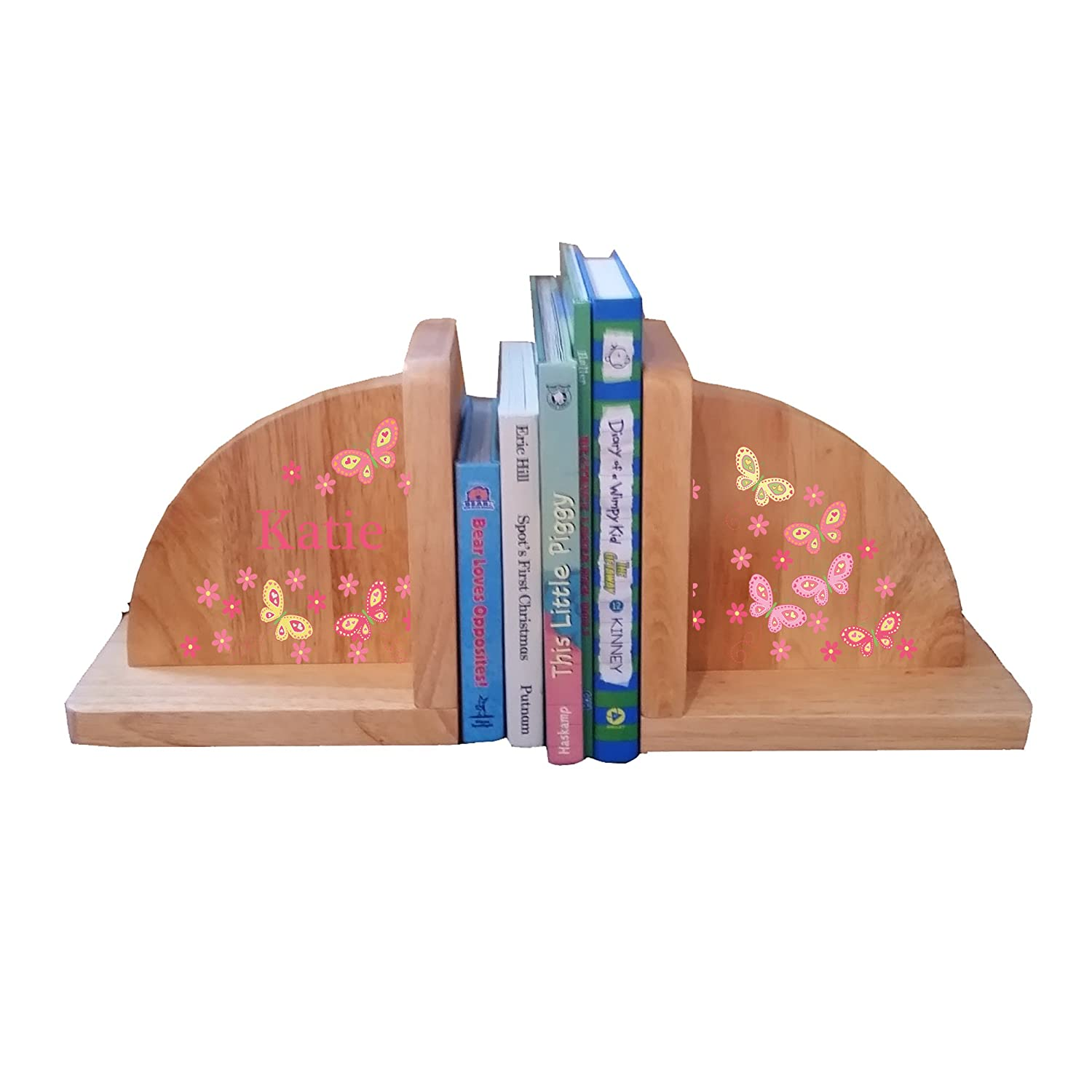 Personalized Butterfly yellow pink Natural Childrens Wooden Bookends MyBambino ENDS-nat-PT-300d