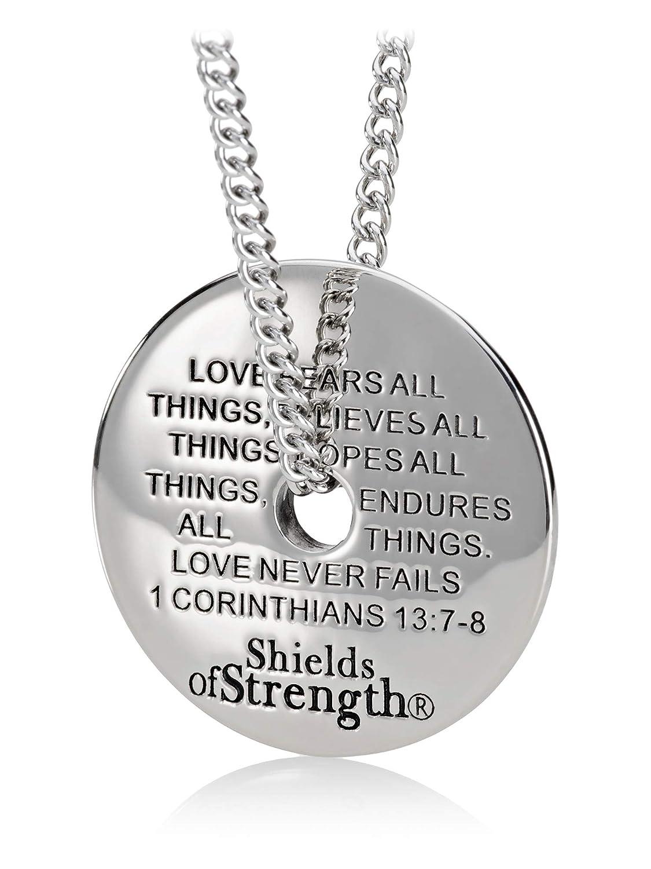 12f5eba47 Amazon.com: Women's Stainless Steel Army Mom Necklace-1 Cor 13:7-8: Jewelry