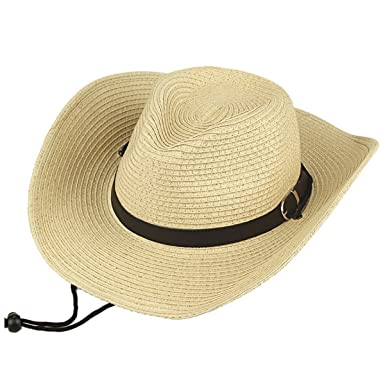 5013183a6e6279 HNBYFS Unisex Classic Straw Cowboy Hats Panama Western Sun Caps Fashion Cowgirl  Beach Sun Hats With