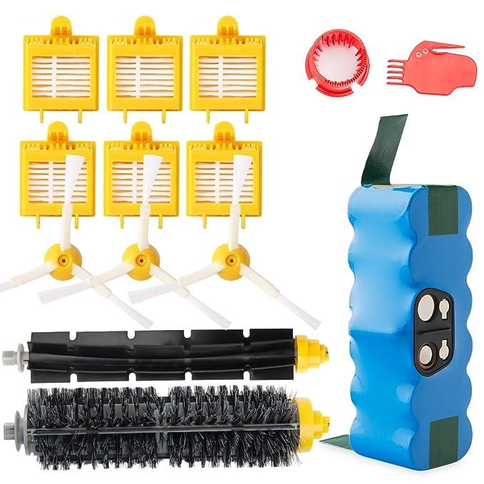 efluky 4,0Ah batería de Repuesto para irobot roomba + Kit cepillos repuestos de Accesorios para iRobot Roomba Serie 700 720 750 760 770 772e 776 776p 780 ...