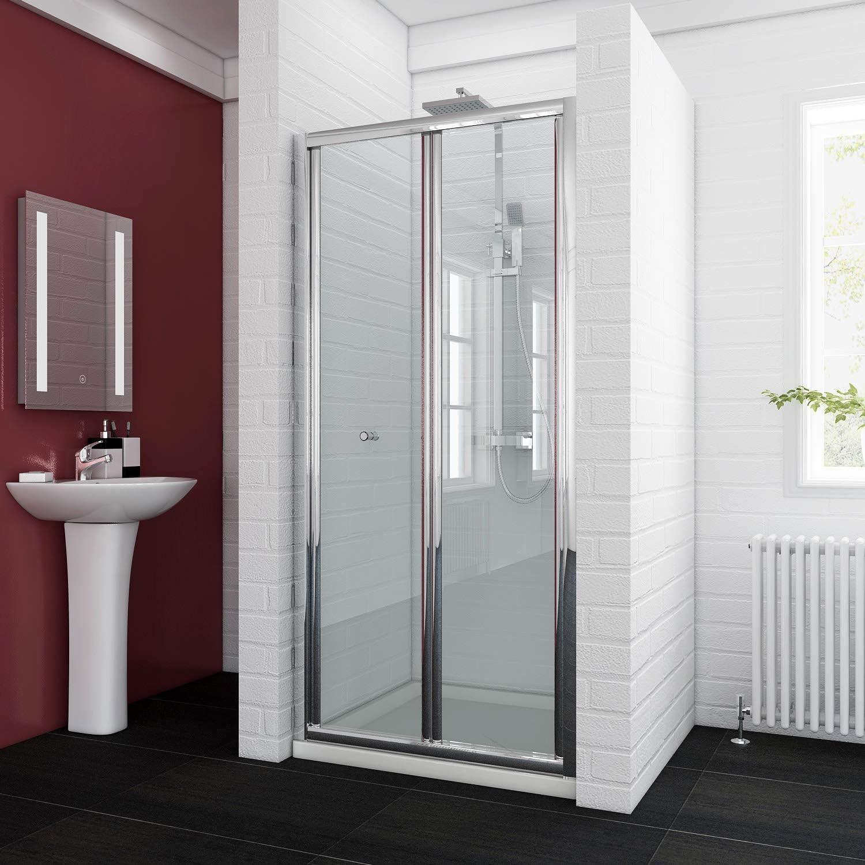 ELEGANT 900mm Bi Fold Shower Enclosure Inwards Opening, Space Saving Shower Door