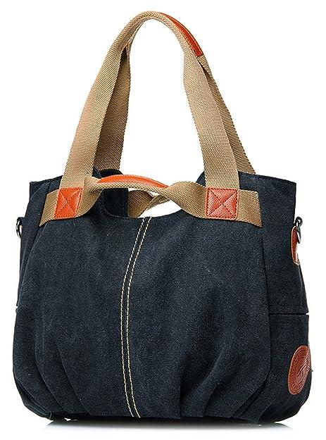 c996f44020 Amazon.com  Tibes Vintage Canvas Handbags Hobos Shopping Bag Black  Shoes