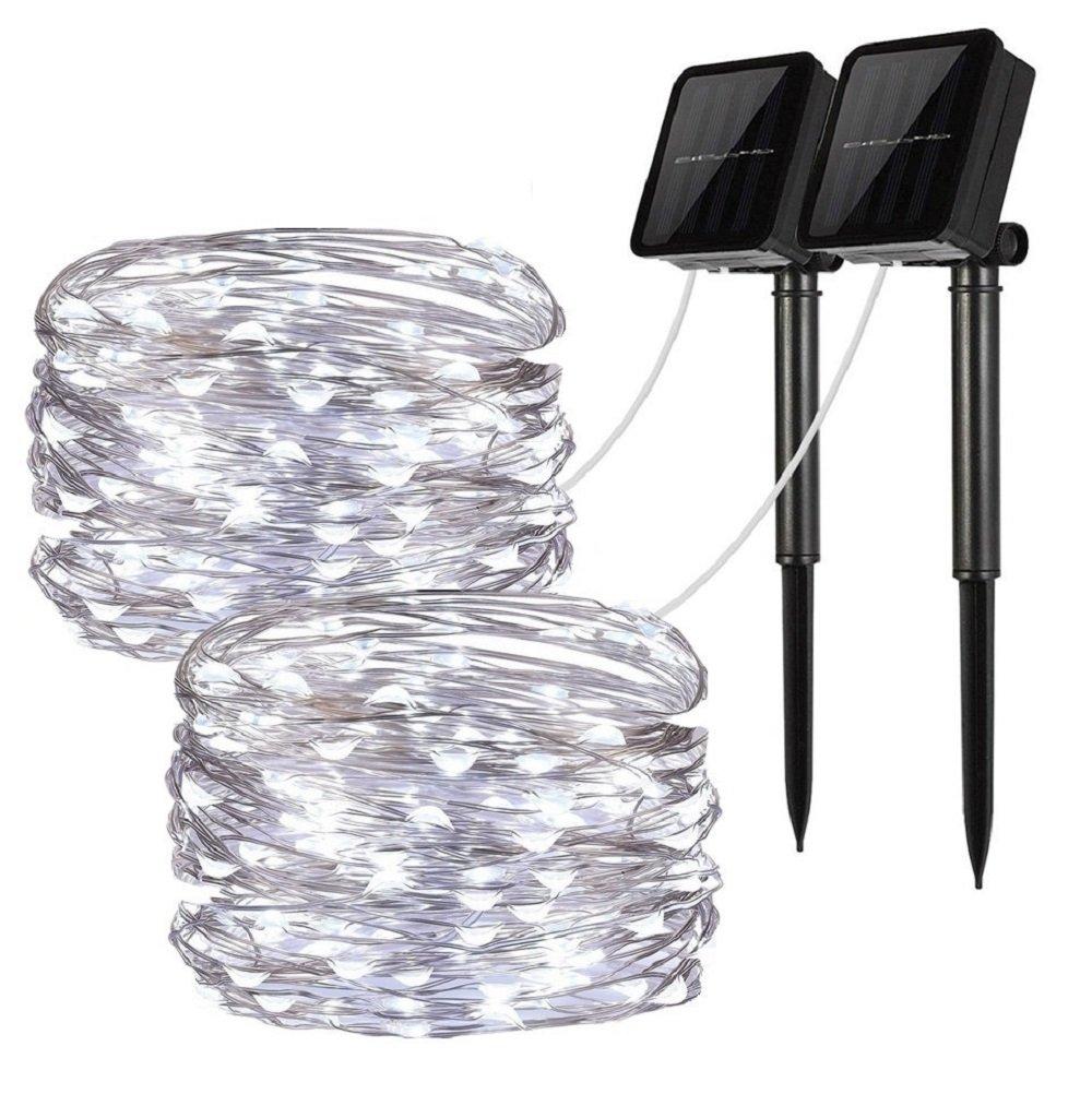 LiyuanQ Solar String Lights, 2 Pack 100 LED Solar Fairy Lights