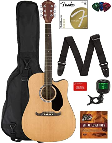 Fender FA-125CE Dreadnought Cutaway Acoustic-Electric Guitar Bundle with Gig Bag, Strap