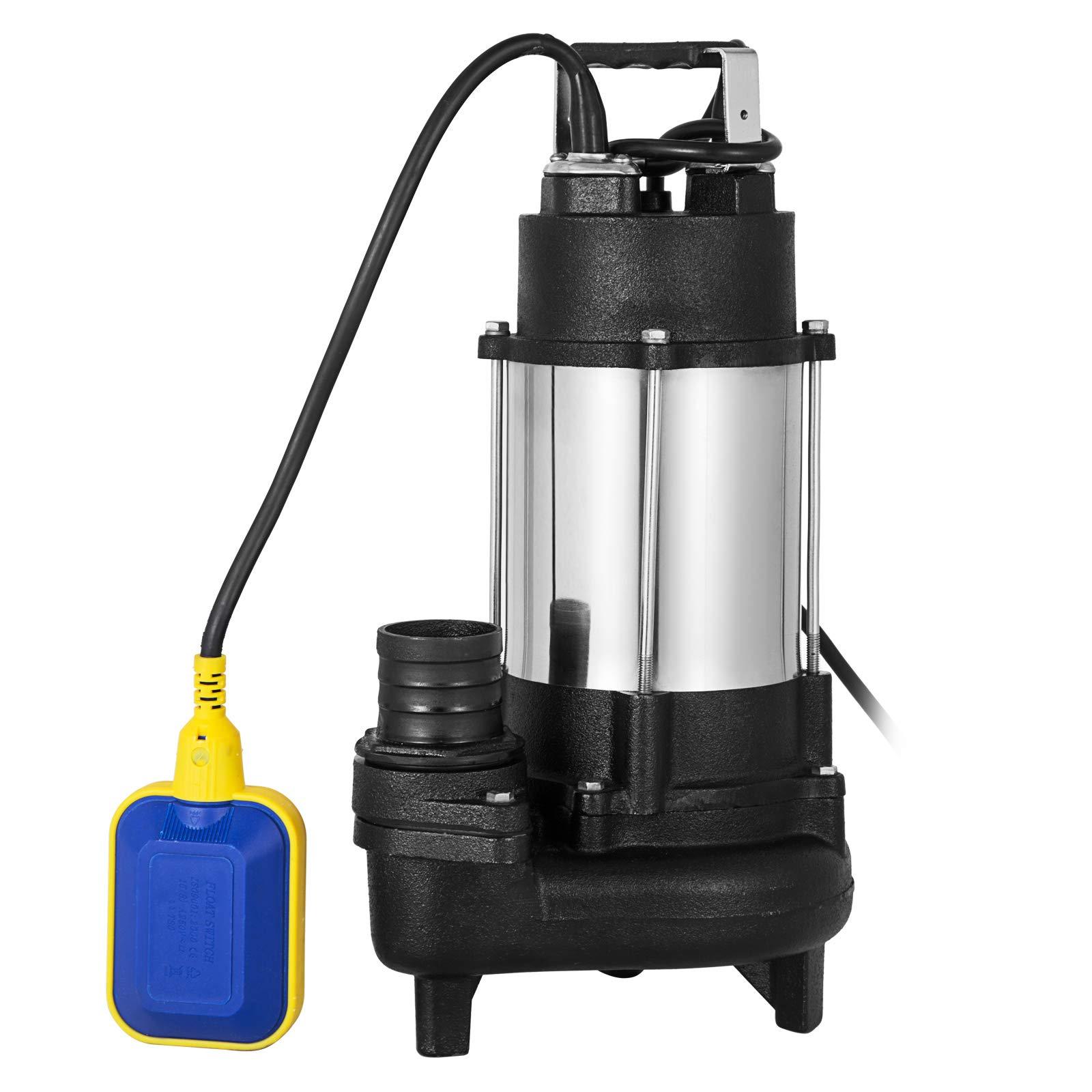 Vinbero 110V 3/4HP Sewage Pump 304SS 46FT Max Head Lift 5600GPH Max Flow Pump With 20FT Cable & Plug Heavy Duty Cast steel Sewage Pump by Vinbero