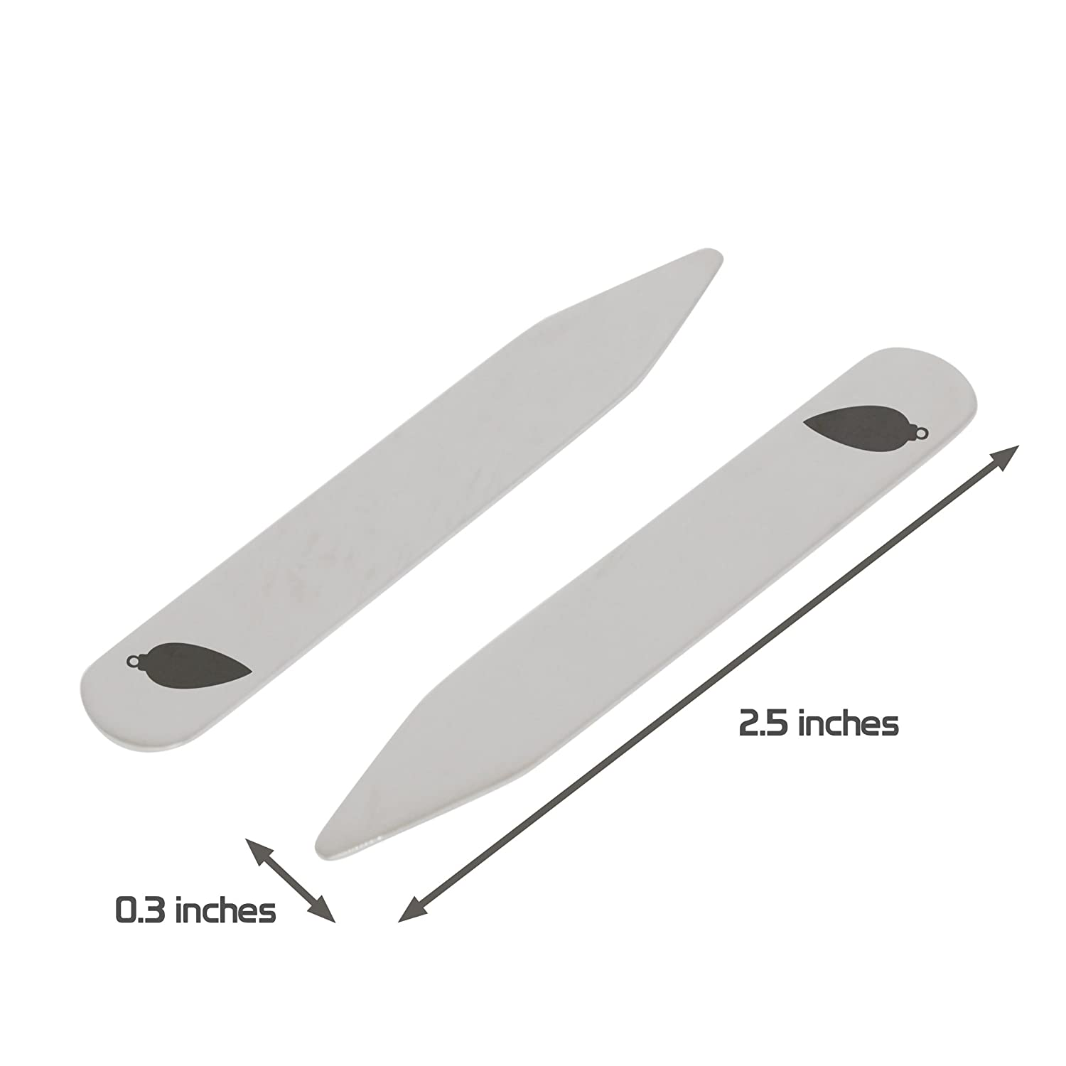 Made In USA 2.5 Inch Metal Collar Stiffeners MODERN GOODS SHOP Stainless Steel Collar Stays With Laser Engraved Long Ornament Design