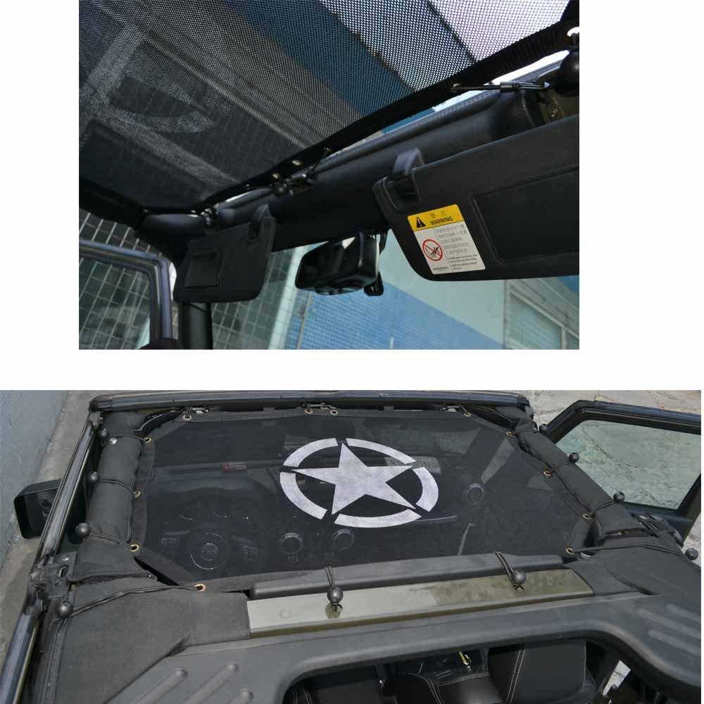 Bosmutus Sunshade Top Covers For J-e-e-p Wrangler 2 Door JK JKU 2007-2017 UV Protection Bikni Top Net Mesh Full Net 5 Star-2door