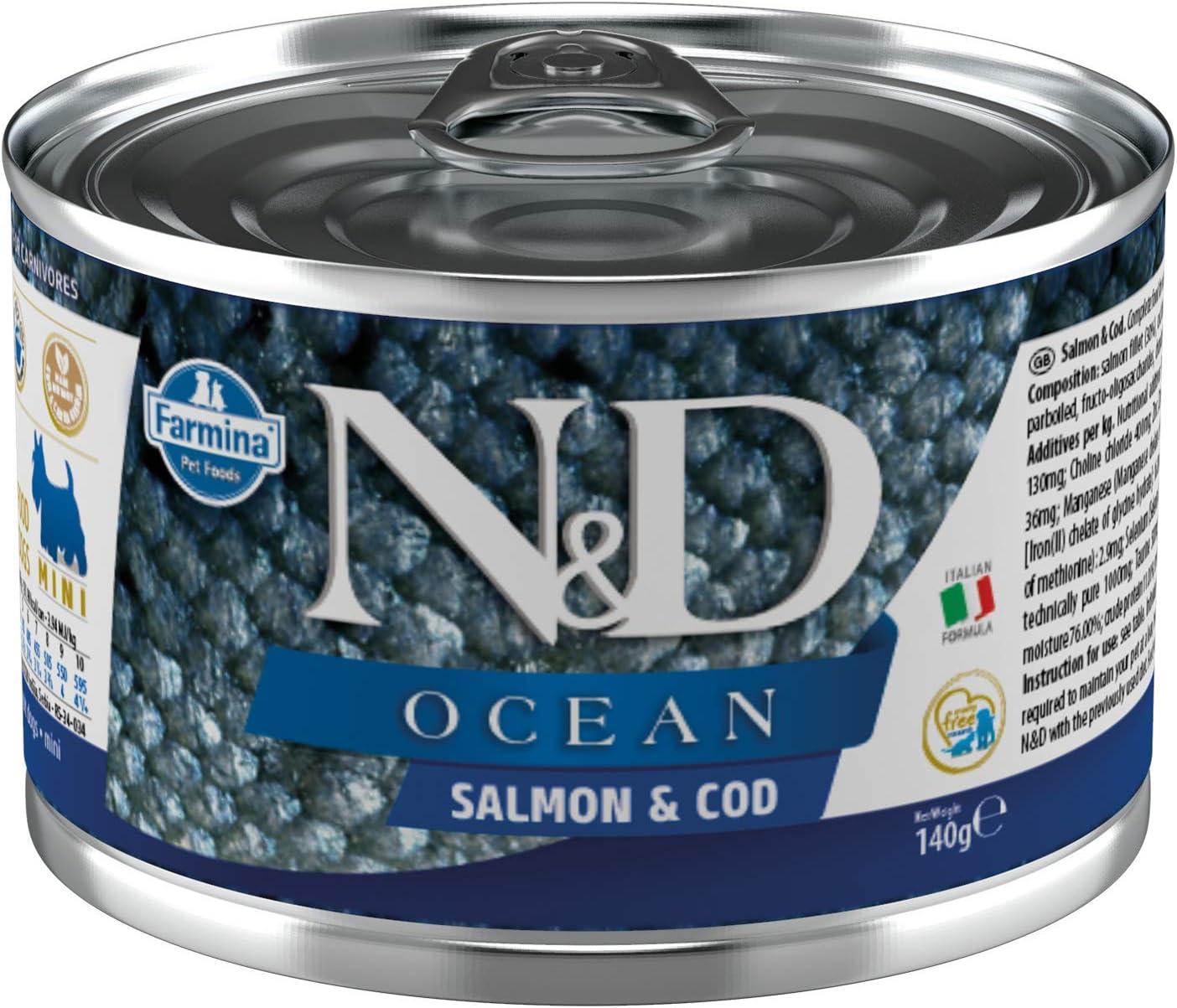 Farmina N&D Ocean Salmon & Cod Canned Adult Dog Food 4.9 Ounces, case of 6