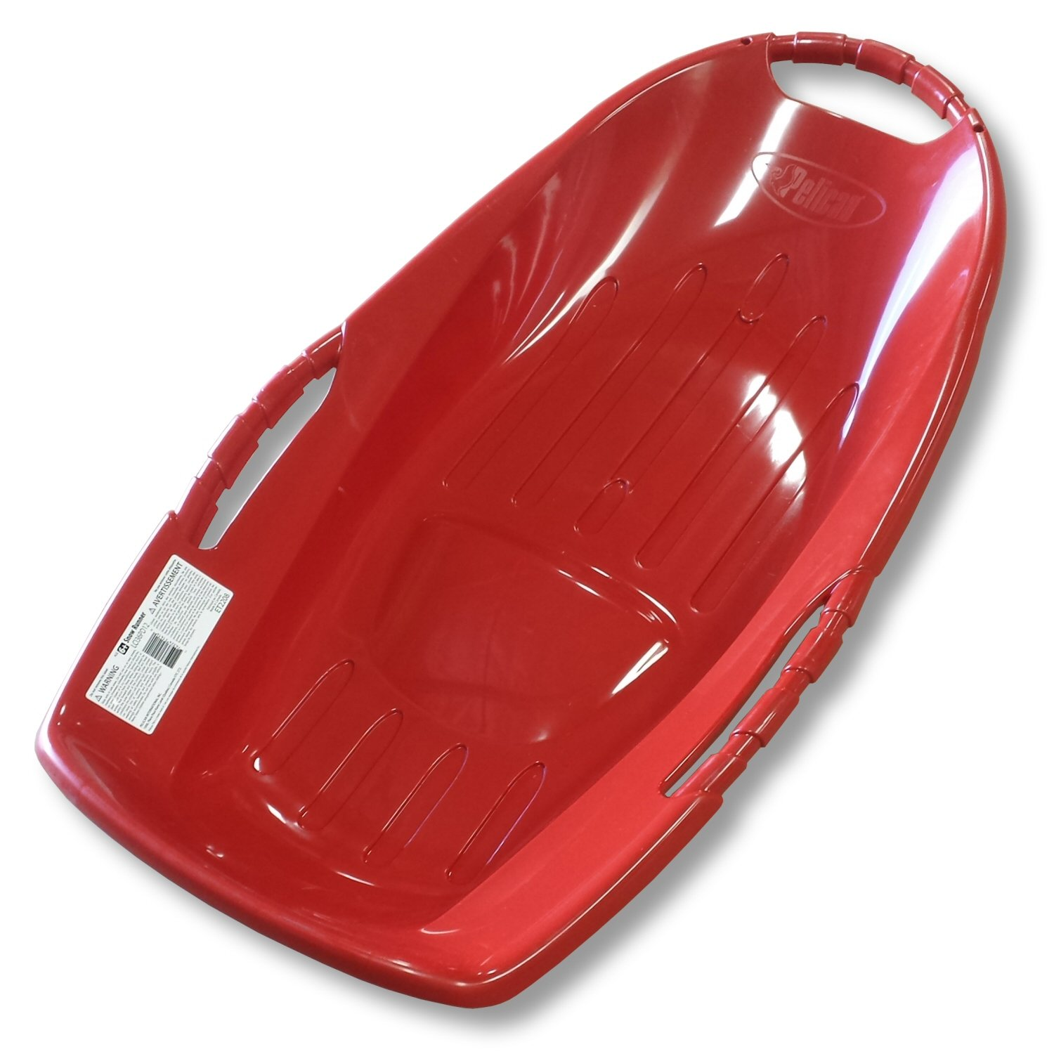 Pelican Snow Runner 36 Red Plastic Snow Sled with Bottom Grooves