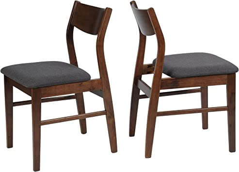 Amazon Com Luckyermore Dining Room Chairs Set Of 2 Mid Century Modern Kitchen Restaurant Side Chairs In Dark Grey Fabric And Walnut Finish Table Chair Sets