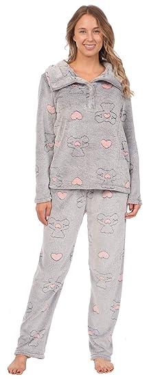 5291a6bec Patricia Women s Soft Minky Polar Fleece 2 Piece Pajama Sets (Teddy ...