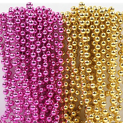 Andaz Press Mardi Gras Plastic Bead Necklaces Duo for Girl Baby Shower Baptism Sweet 16 Birthday Party Favors and Table Centerpiece Decorations, Pink and Gold, 24-Pack
