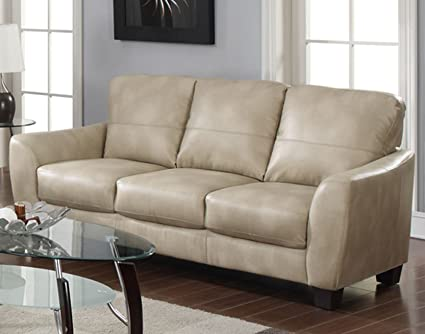 Milan Franklin Taupe Club Bonded Leather Sofa