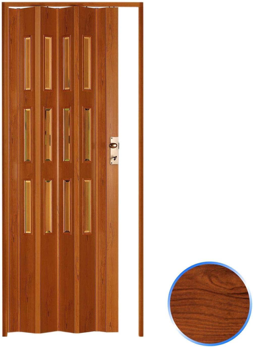 Forte Puerta Plegable de Interior de PVC 88,5x214 cm Cerezo - Vidrio Transparente Mod.Luciana