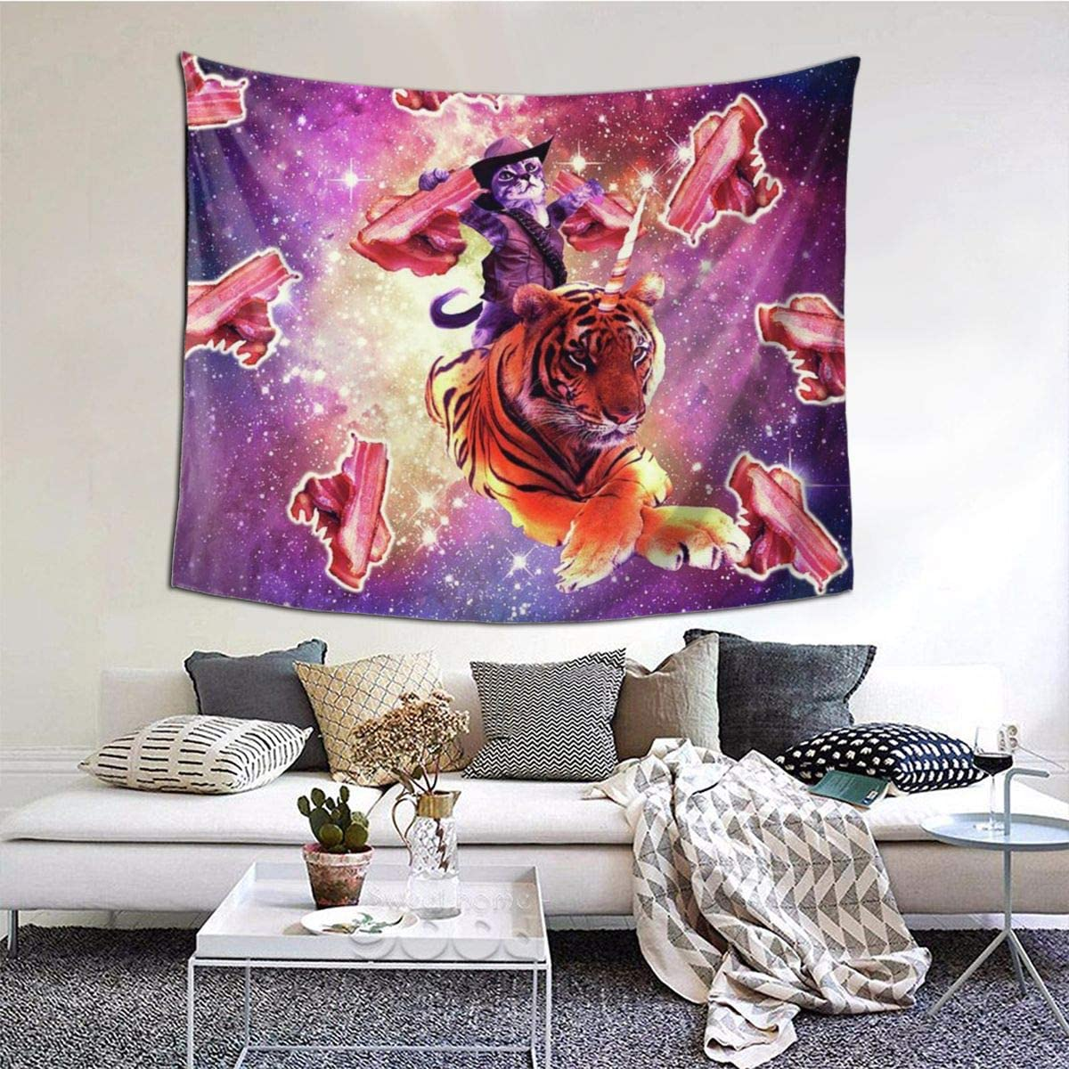 decoraci/ón de pared hippie dormitorio Xqqr sala de estar dise/ño de vaquero y gato montando tigre para dormitorio Tapiz decorativo para pared 152 x 51 pulgadas