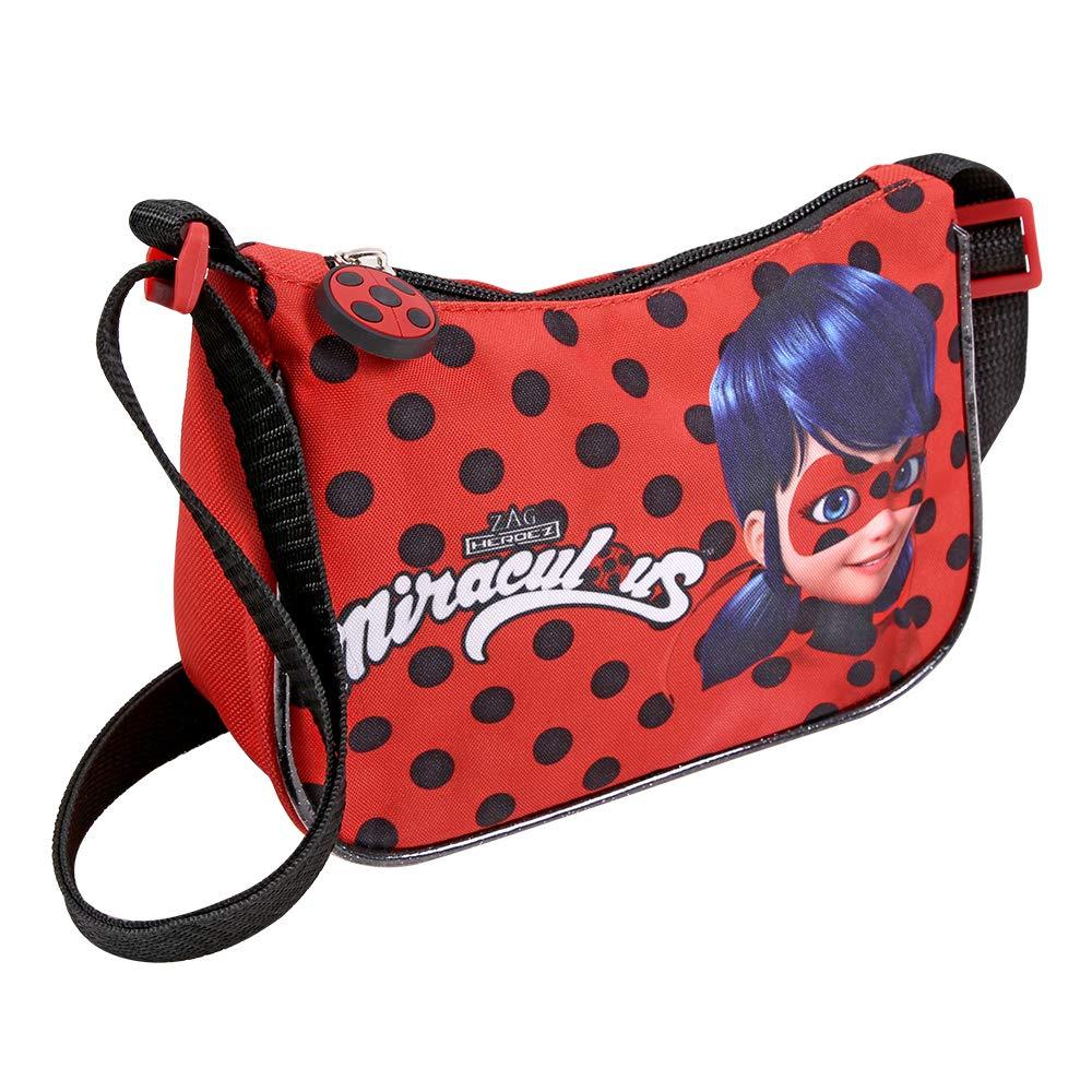 Kleiner Beutel Miraculous Ladybug und Cat Noir für Mädchen - Lady Bug Umhänge für Kinder - Schultertasche für Reisen und Freizeit - Rot und Schwarze Tupfen - 19x14x7 cm - Perletti 13324