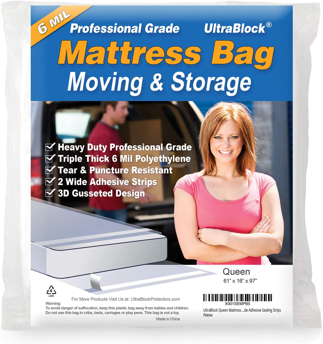 UltraBlock Mattress Bag for Moving, Storage or Disposal - Queen Size Heavy Duty Triple Thick 6 Millimeter Tear & Puncture Resistant Bag with Two Extra Wide Adhesive Strips