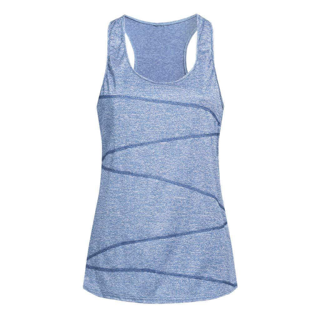 Women Sleeveless Yoga Top Vest Activewear Running Workout Shirt Tunic Tank Racer Back for Men Cami Blue