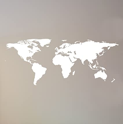 Stickerbrand White World Map Wall Decal Sticker Home Decor Vinyl Wall Art   Large (42in X 102in) Die-Cut Size  Removable