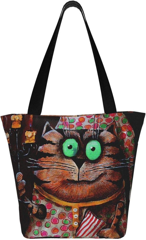 Cat Womens Canvas Hobo Handbags Shoulder Bag Tote Bag