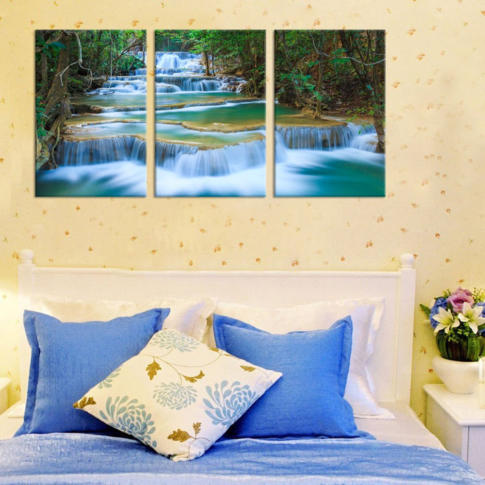 Amazon.com: Waterfall Canvas Wall Art Blue Stream River in Green ...