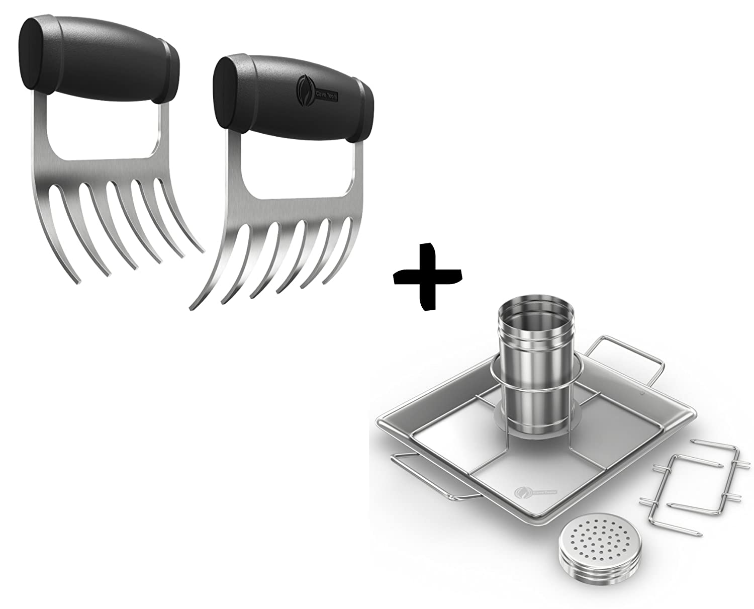 Meat Claws - STAINLESS STEEL PULLED PORK SHREDDERS + Beer Can Chicken Roaster Rack - INCLUDES 4 VEGETABLE SPIKES - Vertical BBQ Roasting Holder for Grill Smoker or Oven - Dishwasher Safe