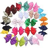 ZXUY 20pcs 7.6cm Boutique Hair Bows Girls Kids Children Alligator Clip Grosgrain Ribbon Headbands 20 Colour (20pcs)