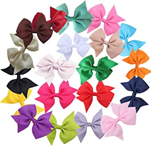 ZXUY 20pcs 7.6cm Boutique Hair Bows Girls Kids Children Alligator Clip Grosgrain Ribbon Headbands 20 Colour (20pcs)