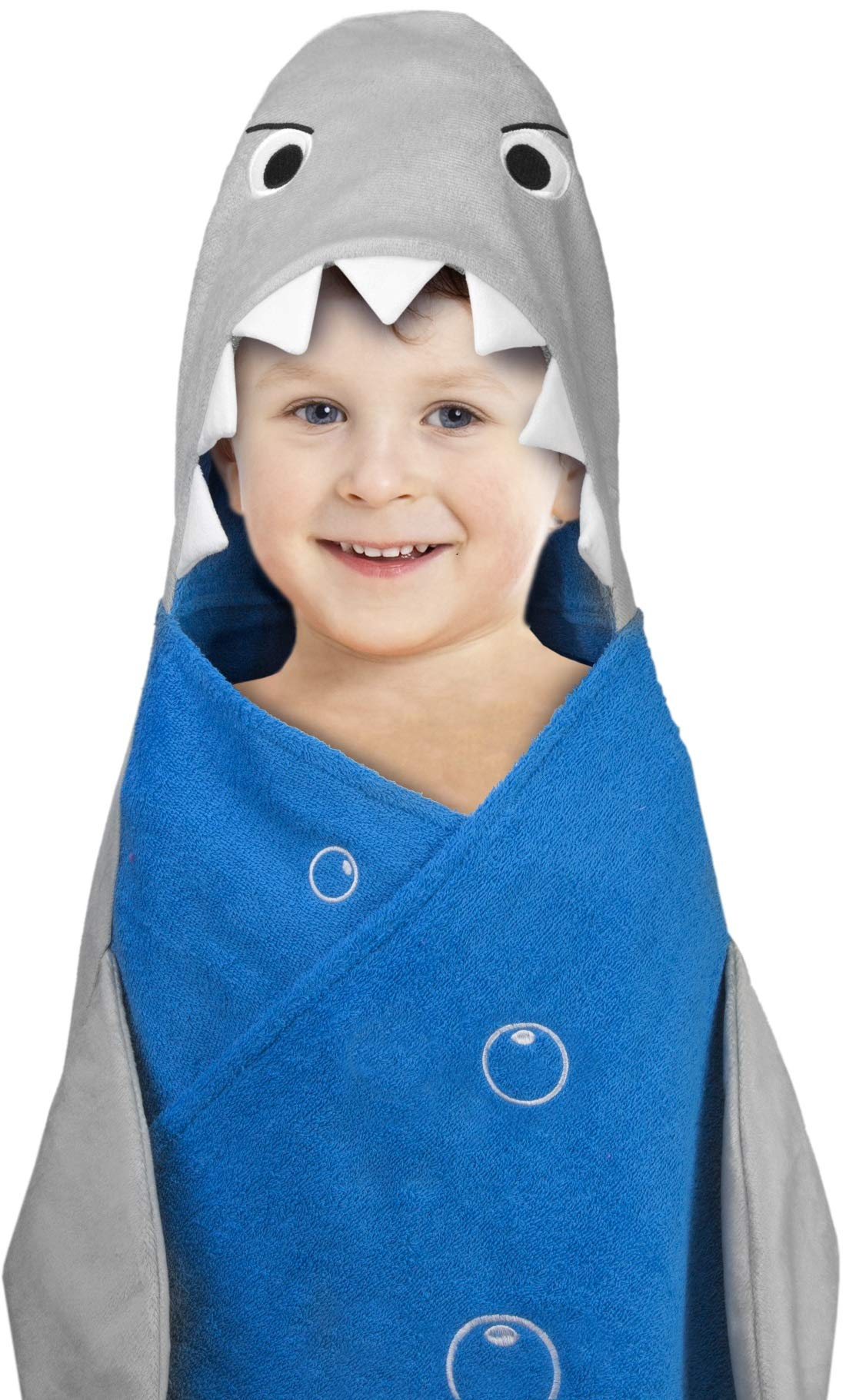 Hooded Towel For Kids, Oversize Cotton Character Hood Towel - Makes Getting Dry Fun - Ideal Beach Towels for Toddlers and Small Children - Use at the Pool or Bath Time, 26 x 47'', Shark w/ Fish