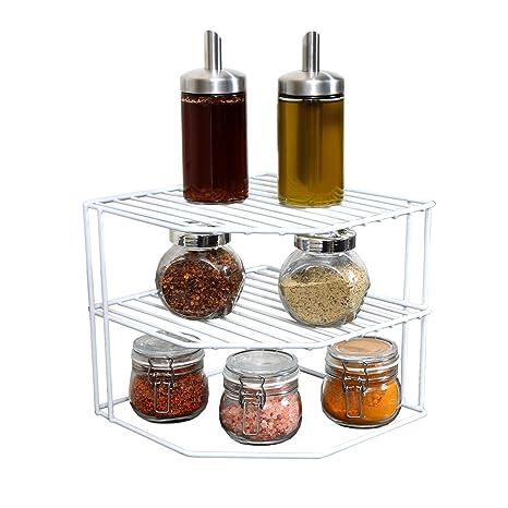 Smart Design 3-Tier Kitchen Corner Shelf Rack - Steel Metal Frame - Rust  Resistant Finish - Cups, Dishes, Cabinet & Pantry Organization - Kitchen (9  x ...