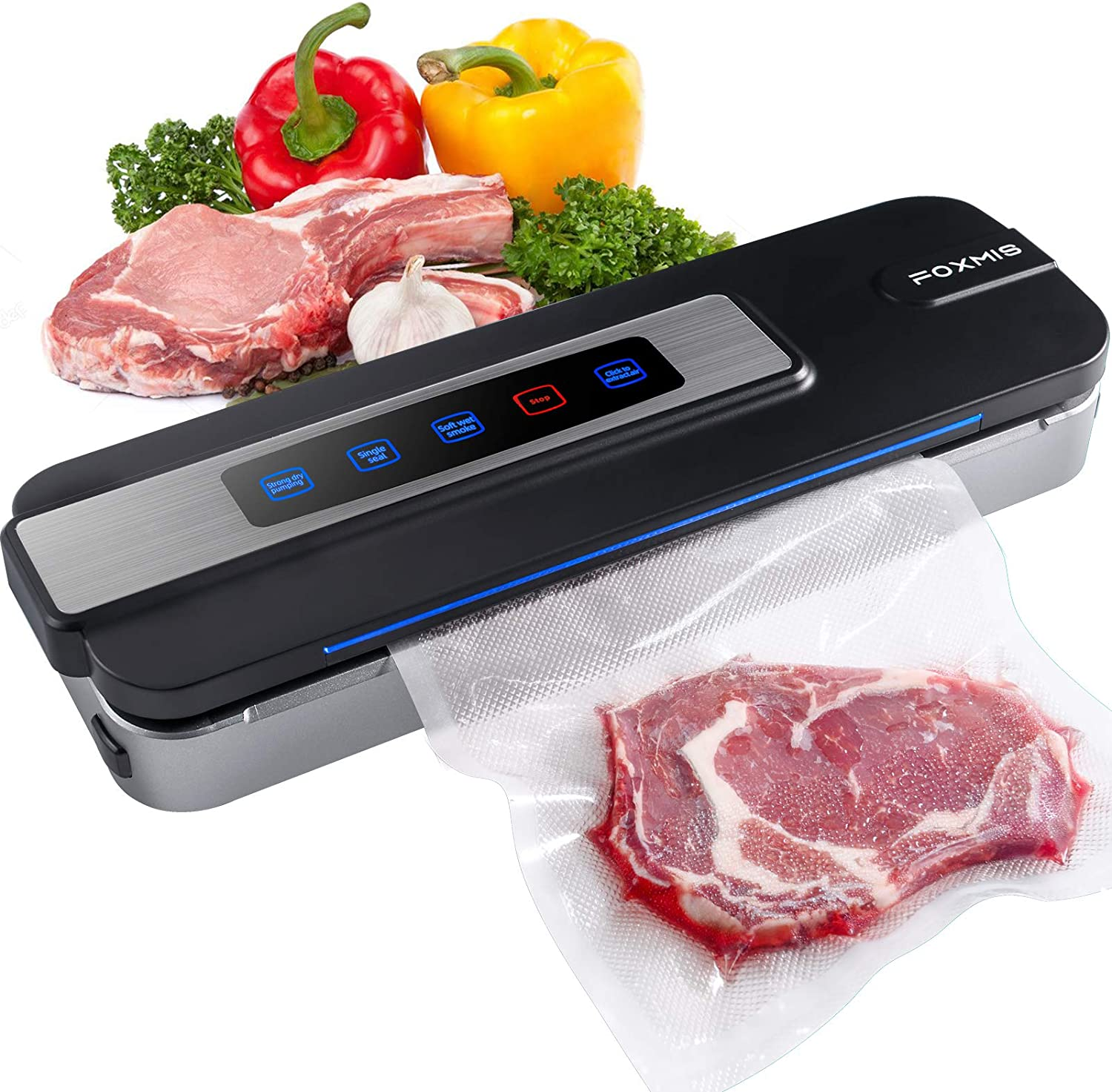 Automatic Food Vacuum Sealer, 2-in-1 Auto and Manual Electric Air Sealing Preserver System, Dry & Moist Mode Air Sealing System with 10 Sealing Bags for Food Preservation Storage, Compact Design for Sous Vide (Black)
