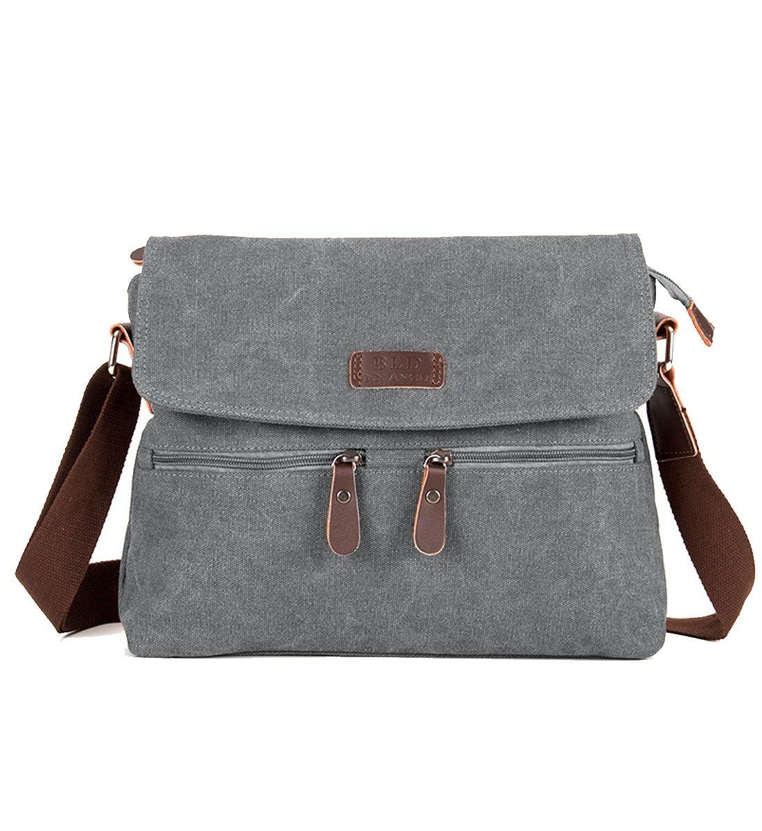 Degohome Canvas Satchel Bag Shoulder Bag Crossbody Sling Bag for Men and Women (grey)