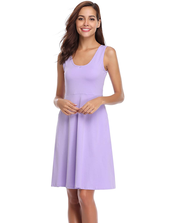 Light Purple_1 Aibrou Women's Nightgown Cotton V Neck Summer Nightshirt Dress Sleepwear