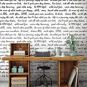 "RoomMates RMK9005WPBlack Dream Big Script Peel and Stick Wallpaper,20.5"" x 16.5 Feet"