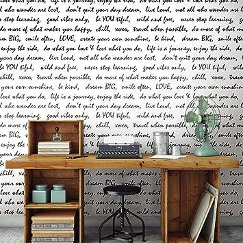 Amazon Com Roommates Black Dream Big Script Peel And Stick Wallpaper 20 5 X 16 5 Feet Home Improvement