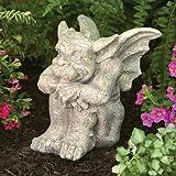 Bits and Pieces - Sitting Garden Gargoyle Statue - Cast Weather Resistant Resin Sculpture