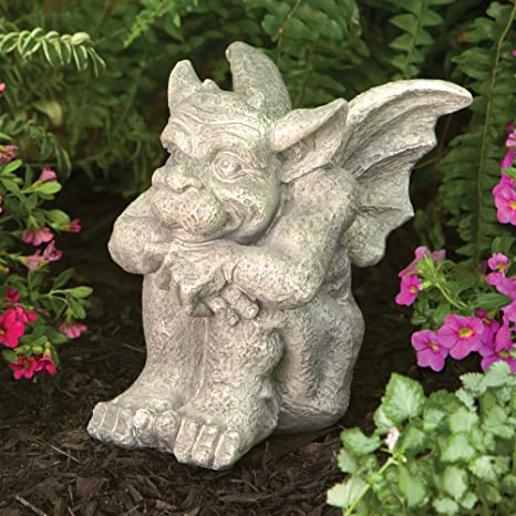 Bits And Pieces Tristan The Gargoyle   Sitting Garden Statue   Cast Weather  Resistant Resin Sculpture
