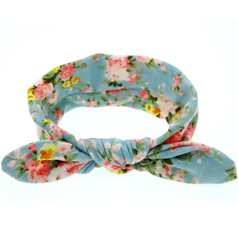 Fulltime Baby Rabbit Ears Elastic Flowers Bowknot Headband TM
