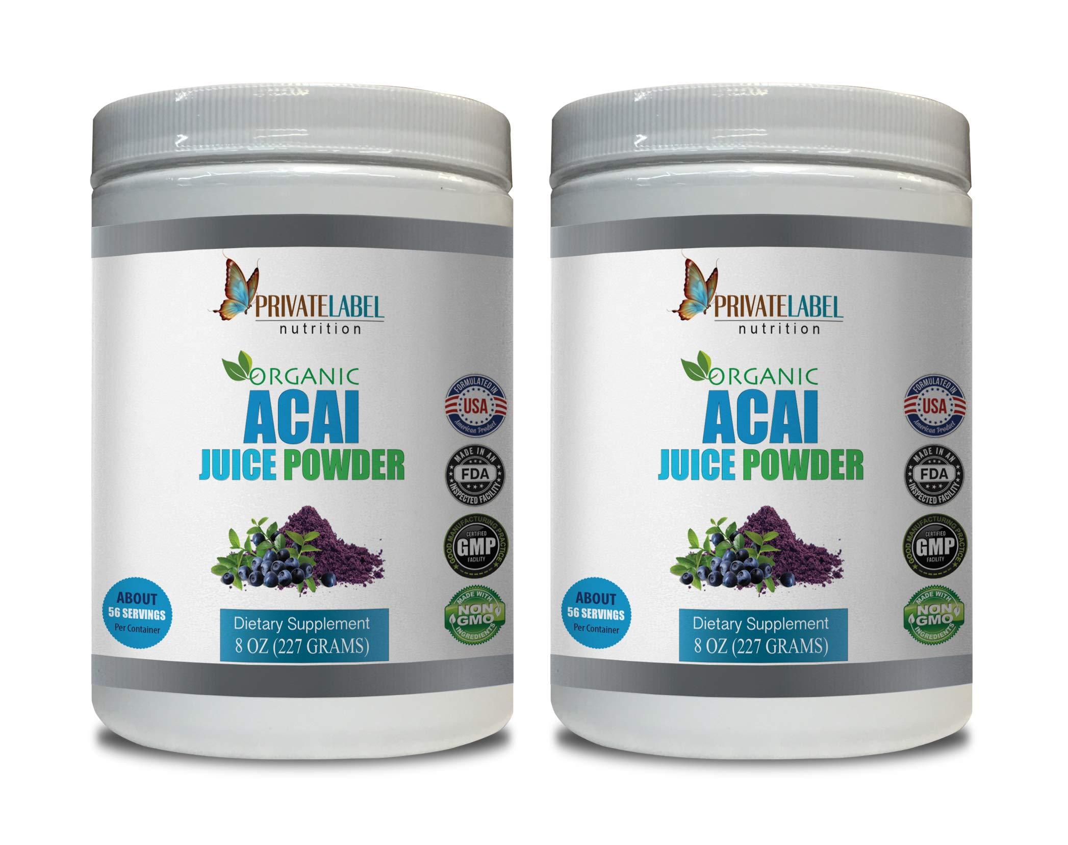 antioxidant Supplement Women - ACAI Organic Juice Powder - acai Detox Cleanse - 2 Cans 16 OZ (130 Servings)