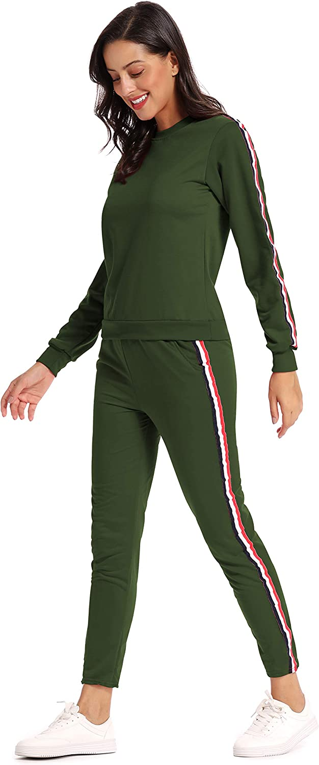 kefirlily Donna Jogging Baseball a Righe in Due Pezzi Sportivo Set