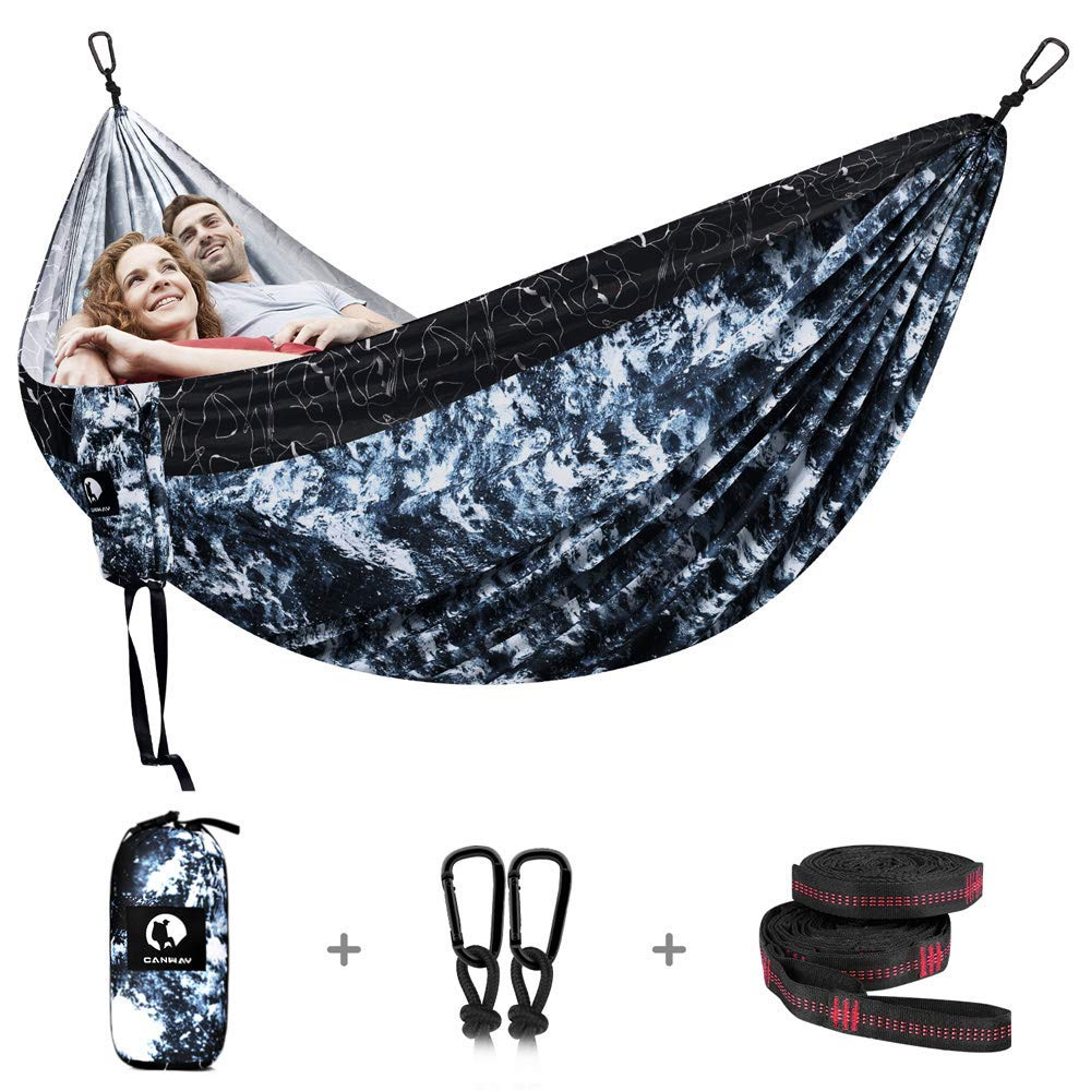 CANWAY Double Camping Hammock 115 x 75, Ultralight Portable Anti-Tear Parachute Nylon Hammock with Tree Straps, XL Large for 2 Person for Outdoor Backpacking Travel, Beach, Yard