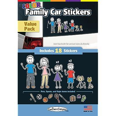 WMI Designs (12051) Color Accent Family Stickers Compact Kit (18): Automotive